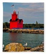 Holland Harbor Light Fleece Blanket