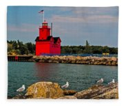Holland Harbor Light Fleece Blanket