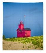 Holland Harbor Lighthouse Mi Fleece Blanket