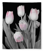 Holland Tulips In Black And White With Pink Fleece Blanket