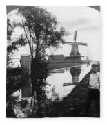 Holland Windmill, C1906 Fleece Blanket