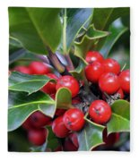 Holly Berries 2 Fleece Blanket