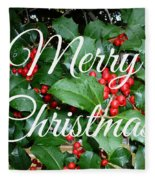 Holly Berries Merry Christmas Fleece Blanket