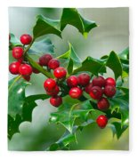 Holly Berries Fleece Blanket