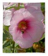 Hollyhock And Bee Fleece Blanket
