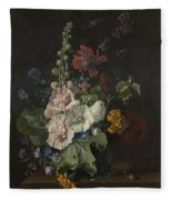 Hollyhocks And Other Flowers In A Vase Fleece Blanket