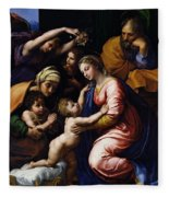 Holy Family Known As The Grande Famille Of Francois I, 1518 Oil On Canvas Fleece Blanket