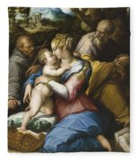 Holy Family With Saint Francis In A Landscape Fleece Blanket