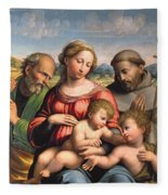 Holy Family With The Infant St. John The Baptist And St. Francis Fleece Blanket