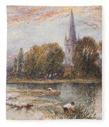 Holy Trinity Church On The Banks If The River Avon Stratford Upon Avon Fleece Blanket