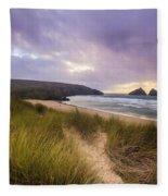 Holywell Bay Spectacular Sunset Fleece Blanket