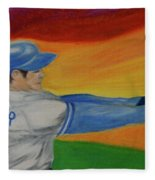 Home Run Swing Baseball Batter Fleece Blanket