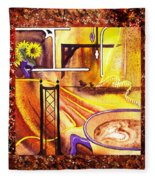 Home Sweet Home Decorative Design Welcoming One Fleece Blanket
