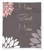 Home Sweet Home Peony Flowers Fleece Blanket