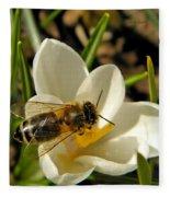 Honey Bee And Crocus Fleece Blanket