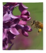 Honey Bee And Lilac Fleece Blanket