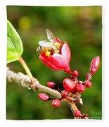 Honey Bee Loaded With Pollen Fleece Blanket