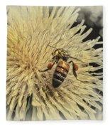 Honey Bee Meets Dandy Lion Fleece Blanket