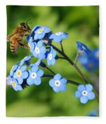 Honey Bee On Forget-me-not Flowers Fleece Blanket