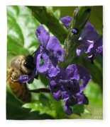 Honey Bee On Purple Flower Fleece Blanket