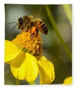 Honeybee Feasting On Nectar Of Yellow Flower Fleece Blanket