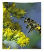 Honeybee In Flight Fleece Blanket