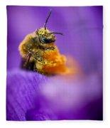 Honeybee Pollinating Crocus Flower Fleece Blanket