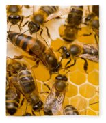 Honeybee Workers And Queen Fleece Blanket