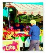 Honeycrisp Apples Fruit Stand Marcel Les Pommes St Joseph Du Lac  Food Art Scenes Carole Spandau Fleece Blanket