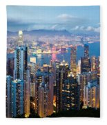 Hong Kong At Dusk Fleece Blanket