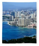 Honolulu And Waikiki From Diamond Head Fleece Blanket