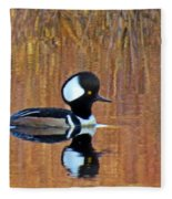 Hooded Merganser At Sunset Fleece Blanket
