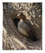 Hooded Merganser Getting Ready To Fly Fleece Blanket