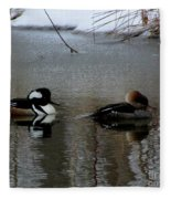 Hooded Merganser Mates Fleece Blanket
