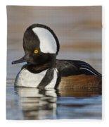 Hooded Merganser On Calm Pond Fleece Blanket