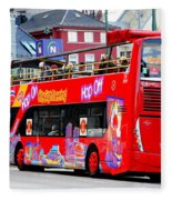 Hop On And Hop Off Bus In Bergen Fleece Blanket