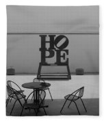 Hope And Chairs In Black And White Fleece Blanket