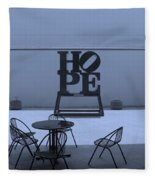 Hope And Chairs In Cyan Fleece Blanket