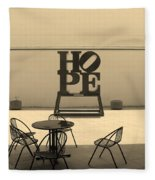 Hope And Chairs In Sepia Fleece Blanket