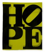 Hope In Yellow Fleece Blanket