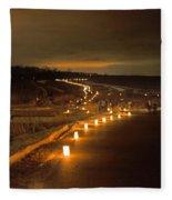 Horicon Marsh Candlelight Snow Shoe/hike Fleece Blanket