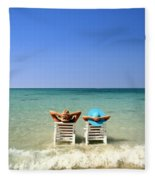 Horizon Blues Fleece Blanket