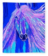 Horse Abstract Blue And Purple Fleece Blanket
