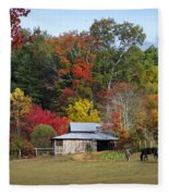 Horse And Barn In The Fall 3 Fleece Blanket