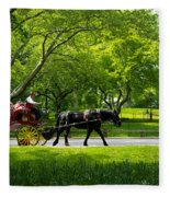 Horse And Carriage Central Park Fleece Blanket