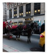 Horse And Carriage Nyc Fleece Blanket