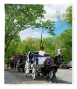 Horse And Carriages Central Park Fleece Blanket