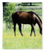 Horse And Flowers Fleece Blanket