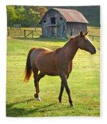 Horse And Old Barn In Etowah Fleece Blanket