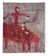 Horse And Rider Cave Painting Fleece Blanket